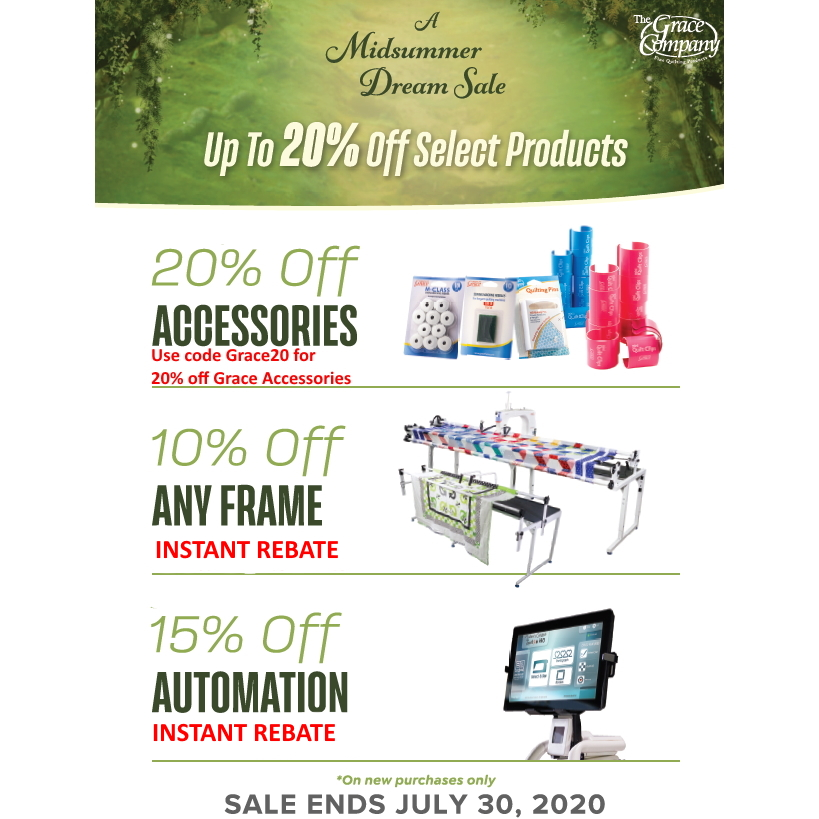 Grace Company Quilting Frame and Machine Specials