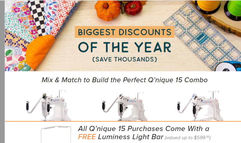Grace Qnique 15R Quilting Frame and Machine Specials
