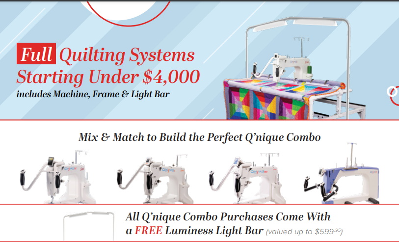Grace Qnique 15 Pro Quilting Frame and Machine Specials