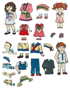 Brother SA351 No.51 Paper Doll Embroidery Design Card
