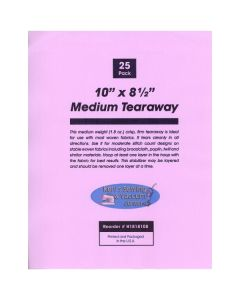 Ken's Sewing Medium Tearaway 10 Inch x 8 1/2 Inch Sheets 25 Count