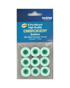 Brother Pre-Wound Embroidery Bobbins #90 White PWB350