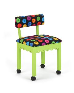 Arrow Green Sewing Chair with Riley Blake Button Fabric
