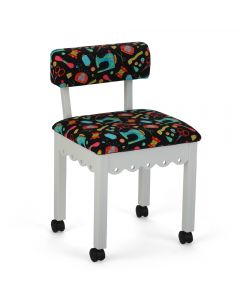 Arrow Sewing Chair White in Riley Blake Fabric