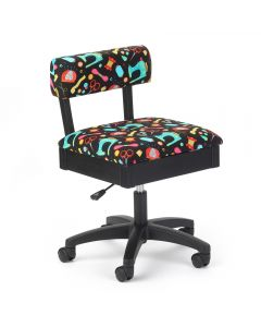 Arrow Hydraulic Sewing Chair in Riley Black Notions Fabric