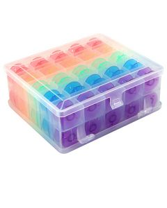 Hemline Double Sided Bobbin Box with 50 Colored Bobbins