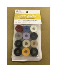 Fil-Tec Clear Glide Style Prewound Embroidery Bobbins Assorted Colors