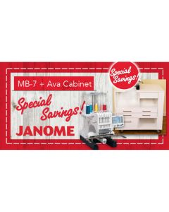 Janome MB-7 Commercial Embroidery Machine with Ava Machine Cabinet