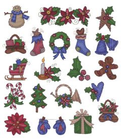DIME Inspiration Collection Embroidery Designs #30 Hand Crafted Christmas