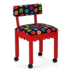 Arrow Red Sewing Chair with Riley Blake Button Fabric