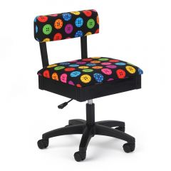 Arrow Hydraulic Sewing Chair in Bright Button Fabric