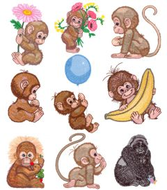 DIME Inspiration Collection Embroidery Designs #56 Morehead Monkey Business