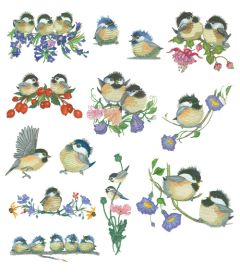 DIME Inspiration Collection Embroidery Designs #76 Valerie Pheiffer Chickadees