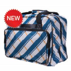 Janome Sewing Machine Tote in Blue Plaid Plaid