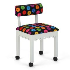 Arrow White Sewing Chair with Riley Blake Button Fabric