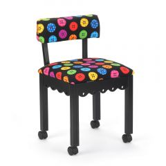 Arrow Black Sewing Chair with Riley Blake Button Fabric
