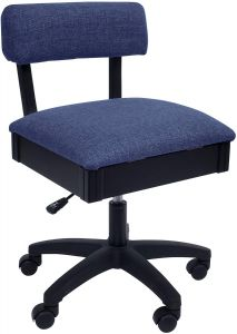 Arrow Hydraulic Sewing Chair in Crown Duchess Blue Fabric