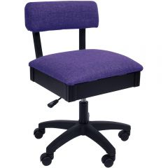 Arrow H8160 Adjustable Height Hydraulic Sewing and Craft Chair with Under Seat Storage Royal Purple Fabric (Shipping December 9th)