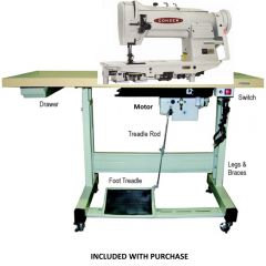 Consew 339RB-4 Double Needle Feed Walking Foot Sewing Machine with Stand