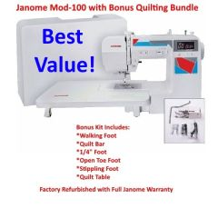 Janome Mod 100 Computerized Sewing Machine with Quilt Bundle Refurbished