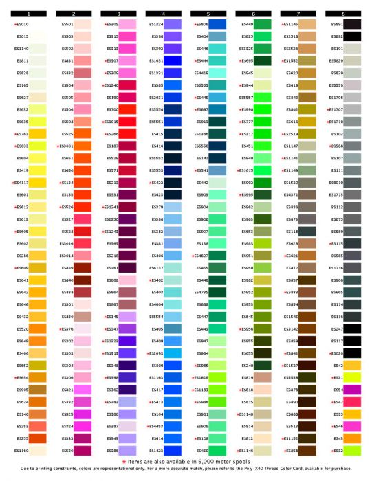 Exquisite thread mini king 1 000m color chart